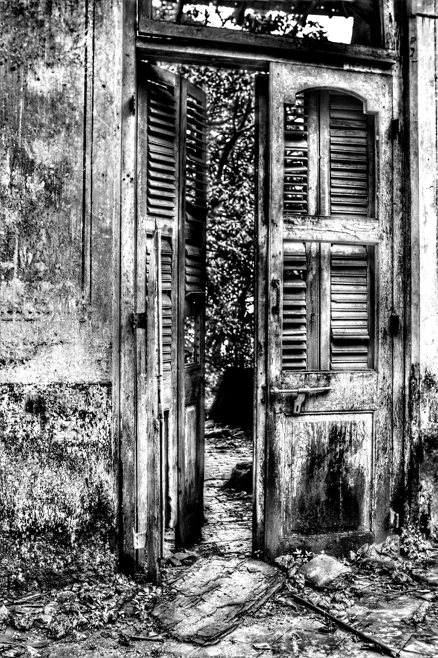 door, closed, built structure, building exterior, architecture, wood - material, house, old, entrance, window, abandoned, wooden, weathered, safety, wood, protection, obsolete, outdoors, day, security