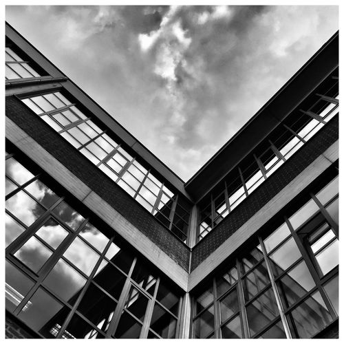 Leuven, Belgium Black And White Blackandwhite Architecture Cloudy Kris Demey Photography Low Angle View Architecture Cloud - Sky Sky Built Structure Auto Post Production Filter Transfer Print Building Exterior Day Outdoors Glass Metal Modern No People Nature Building City Façade Window Wall