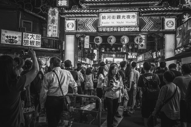 Night market Sony A6300 Dreaming Moments Of Life Happy Yummy Cityscape City Life Walking Moments Momeries Light And Shadow Lights Looking Funny Faces Funny Blackandwhite Black & White Blackandwhite Photography Night Market Special👌shot Special Holiday Taiwan Built Structure Crowd Street City Life Market Lifestyles Standing