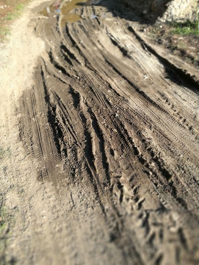 Textured  Close-up Tire Track Track - Imprint