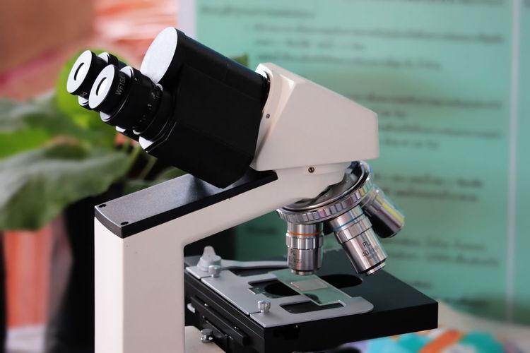 Close-up of microscope at laboratory
