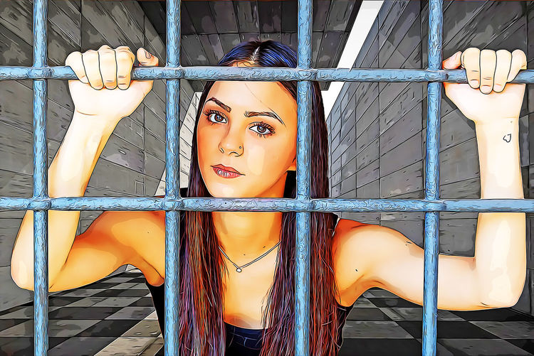 Portrait Looking At Camera Real People One Person Young Women Front View Metal Young Adult Day Orange Color Barrier Fence Leisure Activity Human Representation Lifestyles Architecture Representation Outdoors Beautiful Woman Teenager