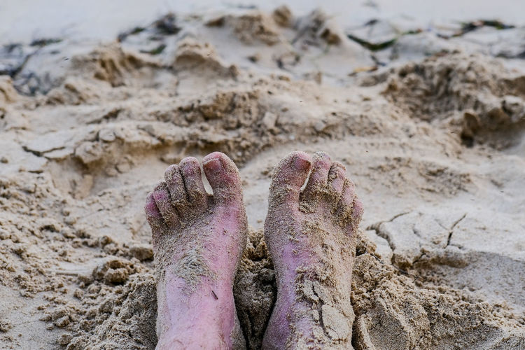 Low section of person sitting on sand at beach