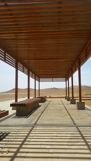 Interior of observation point against sky