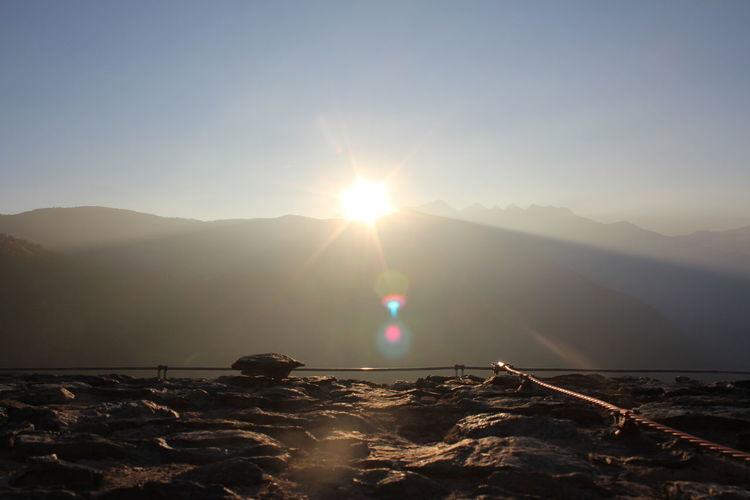 Mountain Sunset Clear Sky Sunlight Sun Lake Sky Landscape Mountain Range