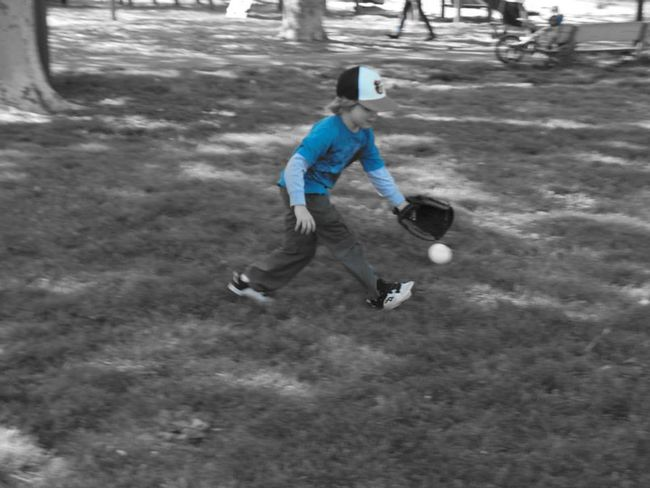 Daytime Practicing Baseball At The Park Nephew  Blue 5 Years Old Fun
