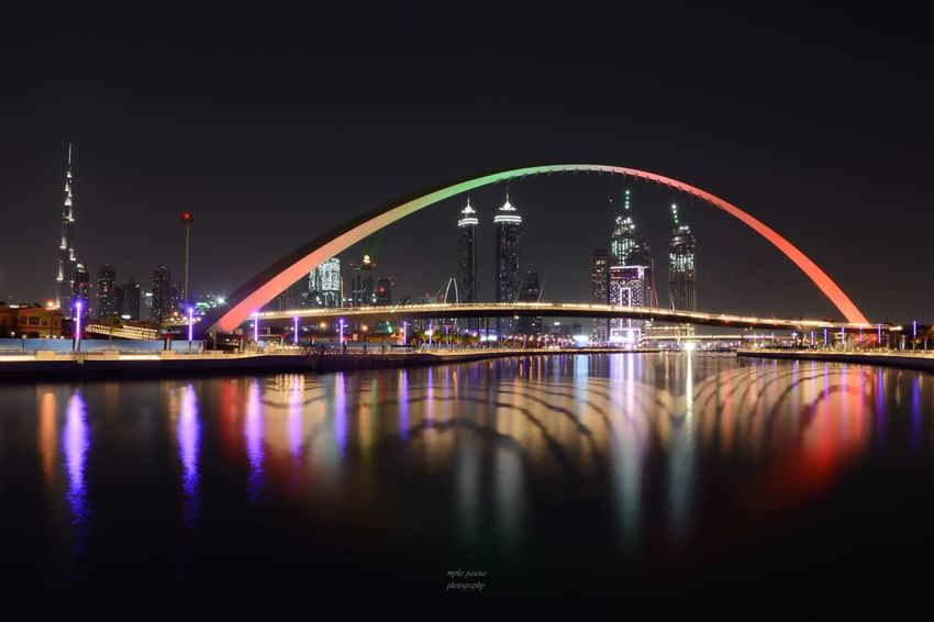 Dubai Canal City Bridge EyeEm Nature Lover Architecture Night Built Structure Illuminated Water Reflection Connection Bridge Waterfront No People Outdoors