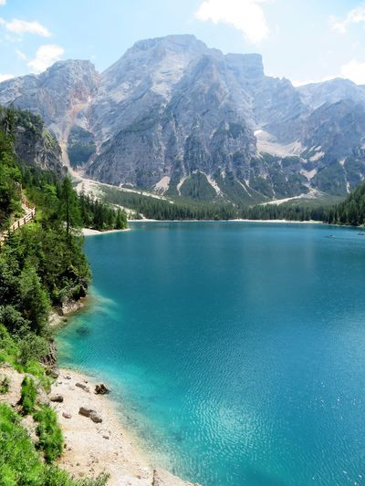 Alps Beauty In Nature Dolomites, Italy Excursion Idyllic Italy Lago Di Braies Landscape Mountain Mountain Range Nature No People Outdoors Pragser Wildsee Scenics Summertime Sunshine Tirol  Tourism Tranquil Scene Tranquility Travel Destinations Trip Photo Water Waterfront