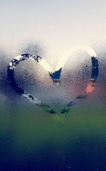 Window Heart Finger Drawing Dew Water Close-up Sky Rainy Season Droplet Transparent Dew Wet