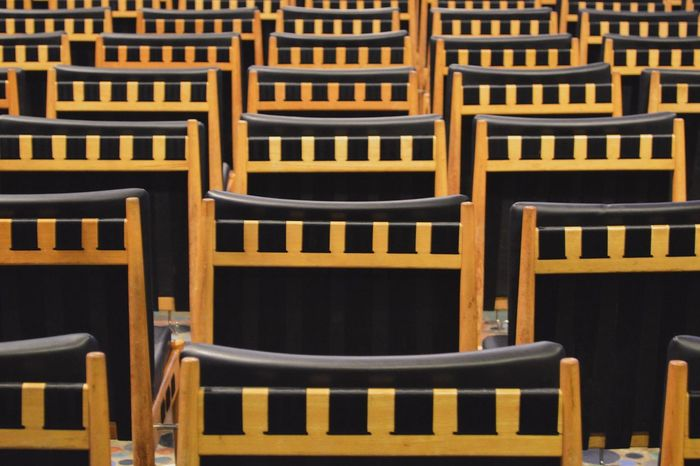 Chair Empty No People Anticipation In A Row Indoors  Table Seat Auditorium Day Beautifully Organized