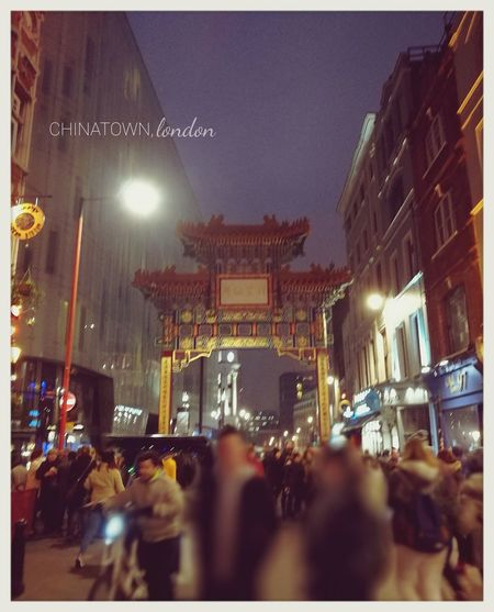 City Night Illuminated Christmas People Outdoors London Chinatown