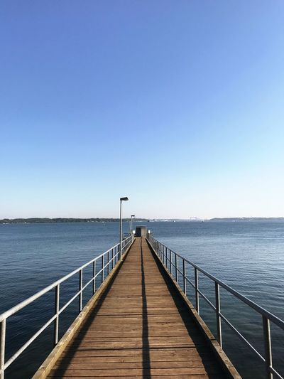 Water Sky Sea Clear Sky Railing Nature Copy Space Blue Pier Tranquility Tranquil Scene Wood - Material No People