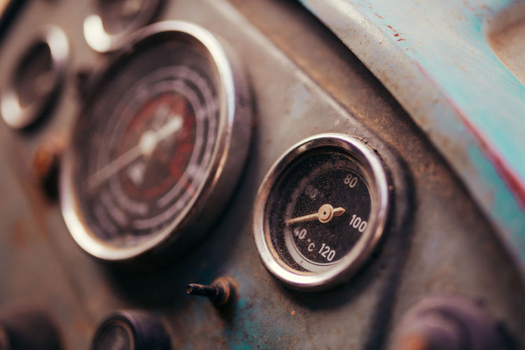 Close-up of old vintage car