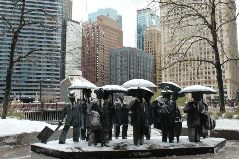 Chicago Architecture Architecture Bare Tree Building Exterior Built Structure Chicago ♥ City Day Nature No People Outdoors Sculpture Statue Tree