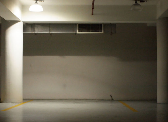Parking Garage Parking Lot Slot Yellow Line Aircon Airconditioning Architecture Built Structure Column Empty Garage Garage Light Illuminated Indoor Indoors  Lighting No People Parking Column Parking Slot Vent Ventilation