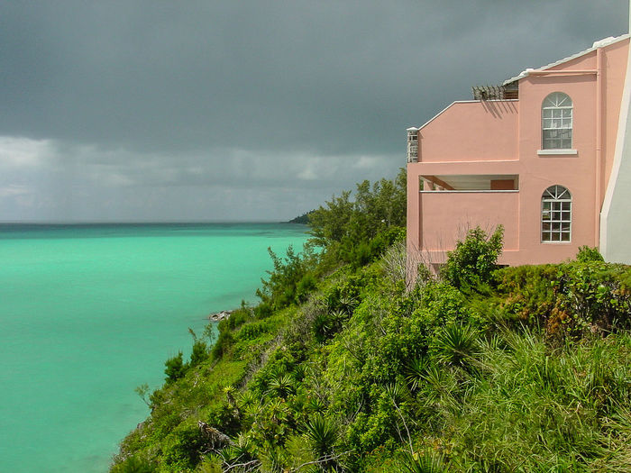 Architecture Beach Beauty In Nature Bermuda Building Exterior Built Structure Cloud - Sky Day Green Color Horizon Over Water House Nature No People Outdoors Scenics Sea Sky Tranquility Tree Vacations