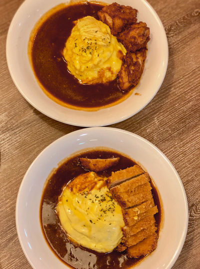 Japanese Curry with Omu Rice Japanese Food Omu Rice Tonkatsu Chicken Katsu Close-up Egg Food Food And Drink Indoors  Indulgence Meal Meat Plate Ready-to-eat Table