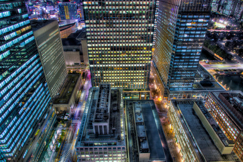 City Architecture Illuminated Building Exterior Built Structure Building Office Building Exterior Night City Life Cityscape Modern Travel Destinations Long Exposure Tall - High Residential District No People High Angle View Tower Transportation Financial District  Tokyo Street Photography Japan Tokyo Night Japan Photography HDR