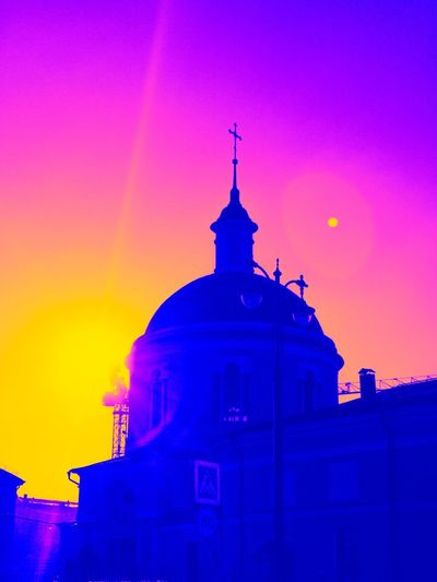 Bubblegum city Building Exterior Architecture Built Structure Building Sky Place Of Worship Silhouette Spirituality Belief Nature Multi Colored Tower Religion Purple Sunset Cross No People Spire