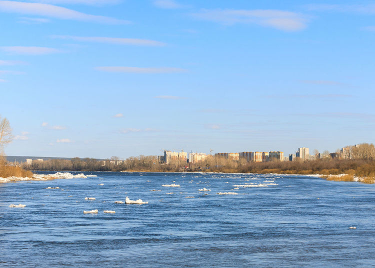 River Tom. Ice drift. Landscape Scenics Scenery Kemerovo Siberia Russia Early Spring Spring Water Waterfront Ice Drift River Horizon Sunny Day Blue Sky Blue Water Urban Skyline Water Cold Temperature Blue