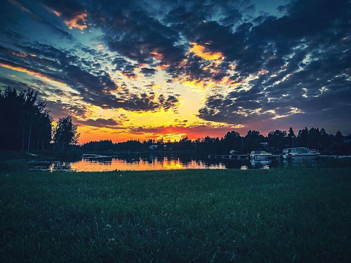 Sunset Tranquil Scene Scenics Beauty In Nature Cloud - Sky Nature Dramatic Sky Sky Grass Tranquility No People Outdoors Water Silhouette Landscape Rural Scene Storm Cloud Growth Rice Paddy Finland Summer Small Port Like Post