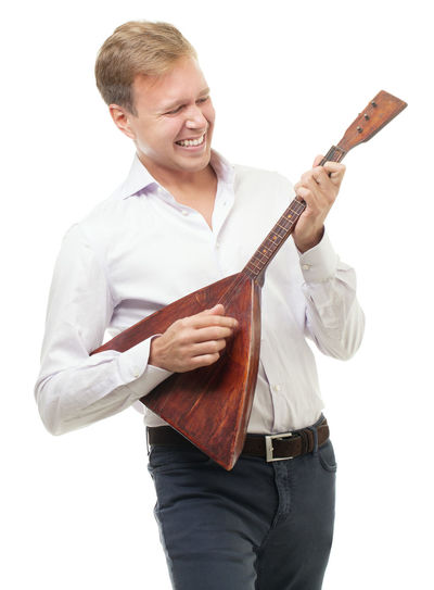 Balalaika Caucasian Cheerful Expression Instrument Isolated Laugh Man Music Musical Musician National Play Russian Smile Traditional Trichord Vertical White
