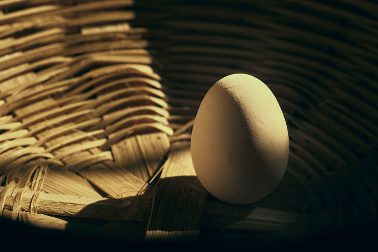 High angle view of eggs in basket on table