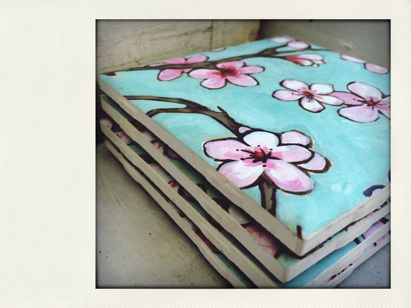 Cherry blossom coasters set of 4 available at my etsy shop! LilacAndLemon Bohemian Etsy Flowers Pretty