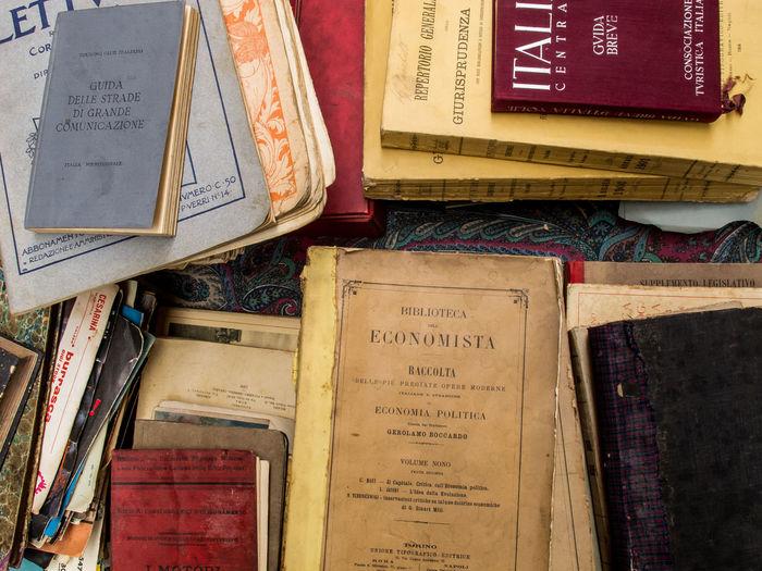 Close-up of multi colored book on shelf