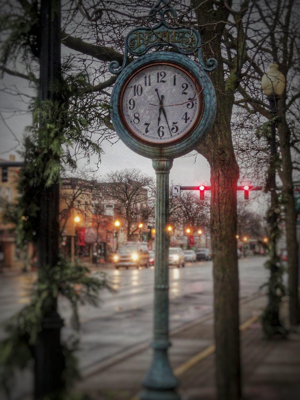 tree, clock, bare tree, time, winter, no people, outdoors, snow, night, nature, city, clock face, sky, close-up