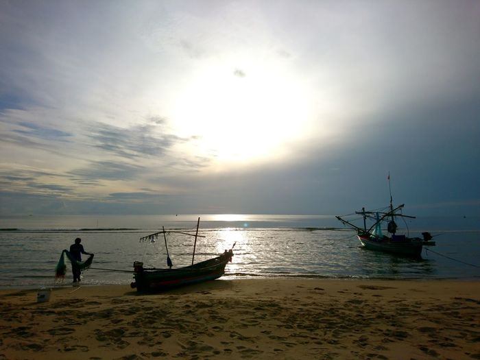 Nautical Vessel Water Sea Fisherman Sunset Beach Occupation Full Length Fishing Net Longtail Boat
