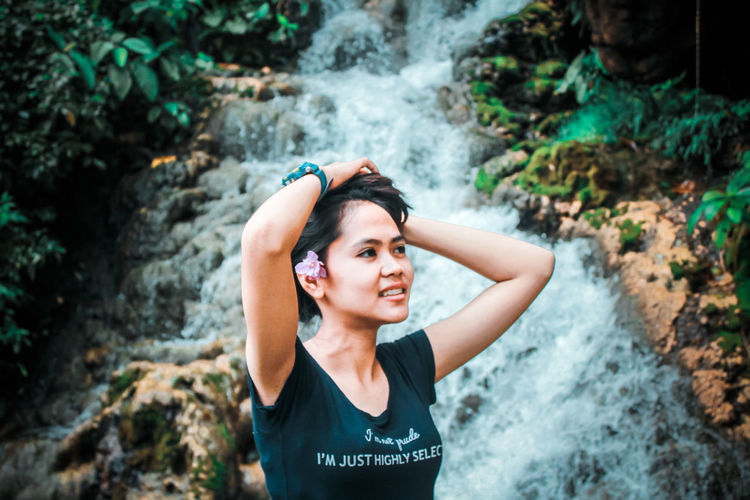 beauty in nature Only Women Outdoors People One Person Strength Adventure Healthy Lifestyle Portrait Nature Exercising Sports Clothing Forest Rock - Object Happiness Photography Beauty Love Waterfall Like4like Likeforlike Likes Rate Me Rate Freshness Close-up