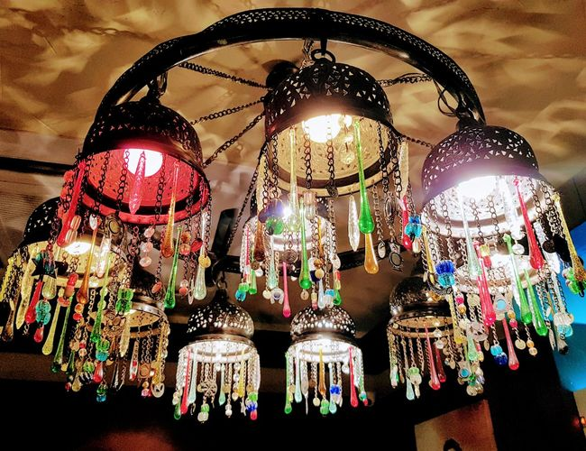 Egyptian Colourful traditional chandelier Hanging Decoration Lighting Equipment Low Angle View Illuminated No People Indoors