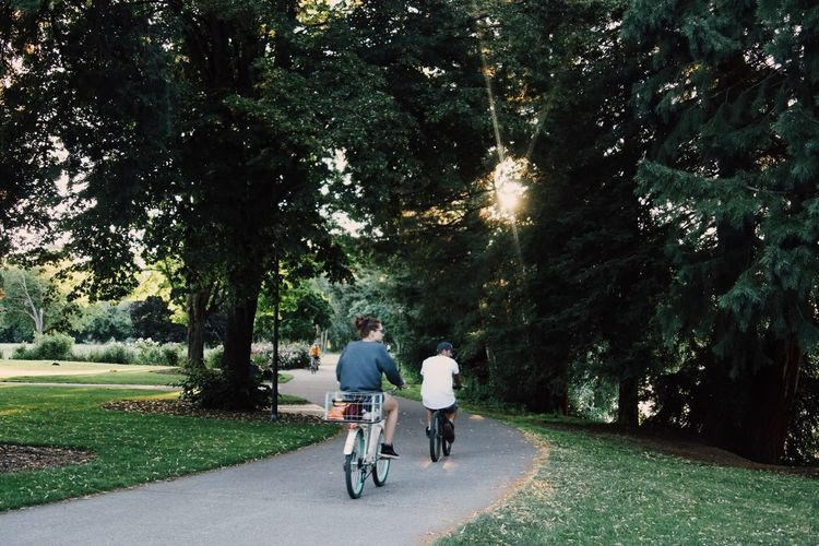 Adult Bicycle Casual Clothing Couple - Relationship Cycling Cycling Helmet Day Friendship Full Length Grass Leisure Activity Men Nature Outdoors Park - Man Made Space Real People Riding Road Senior Women Sky Togetherness Transportation Tree Two People Women