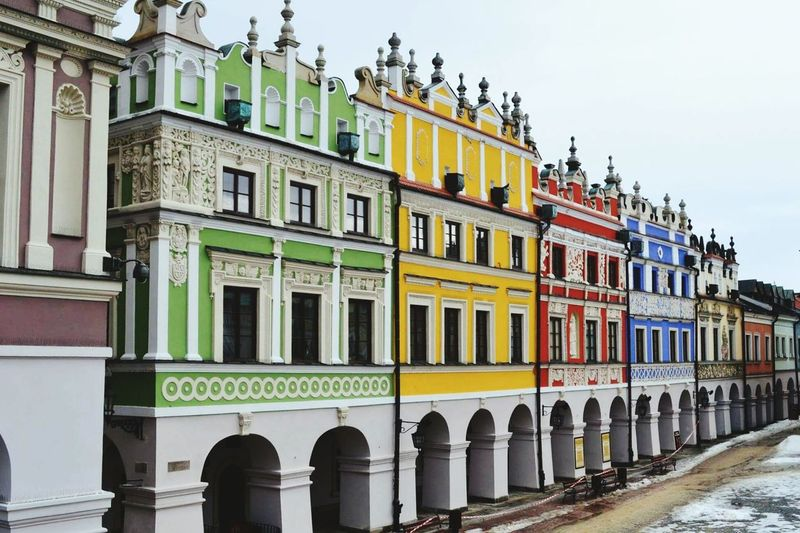 Pastel Power Hello World ✌ Winter Houses Old Buildings Town City Unesco UNESCO World Heritage Site Zamość Poland Beautiful Traveling Eye4photography  Colorful Yellow Green Red Blue