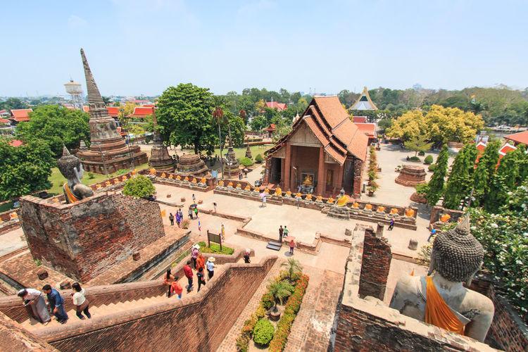High angle view of people at wat yai chai mongkhon