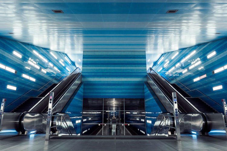 View of escalator at subway station