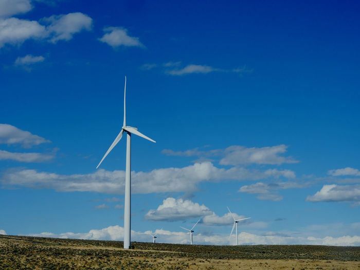 Wind turbines in eastern Washington. Turbines Wind Turbine Wind Power Alternative Energy Clean Energy Clouds And Sky Blue Sky Environment Protection Ecology