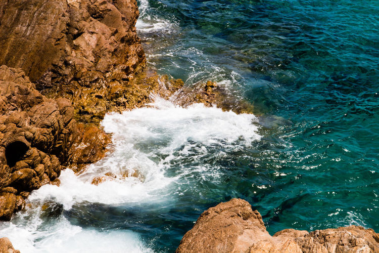 Blue Sea Heavenly Rock Sardinia Sardegna Italy  Foam Sardegna Sardinia Waves