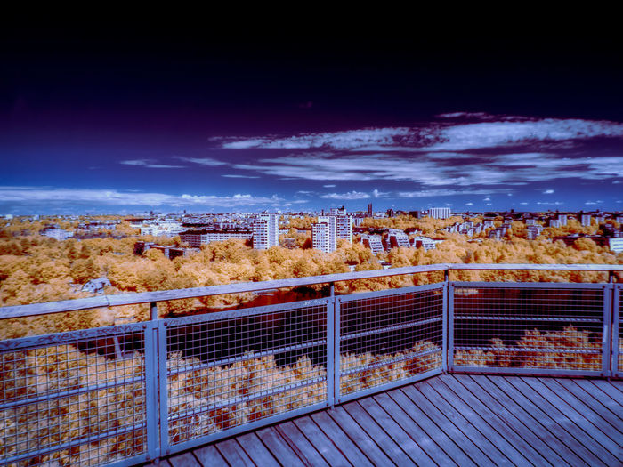 infrared photo of Stockholm in ultraviolet Building Landscape Metal High Angle View Autumn Blue Environment Transportation Day Cityscape Cloud - Sky Sky Architecture Nature No People City Built Structure Building Exterior Railing Outdoors Infrared Infrared Photography Ultraviolet