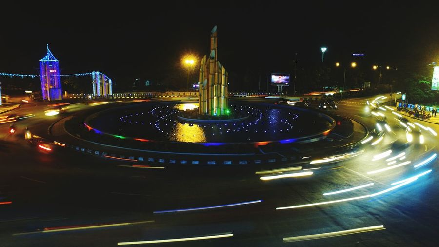 Night Illuminated City Traffic Circle Long Exposure