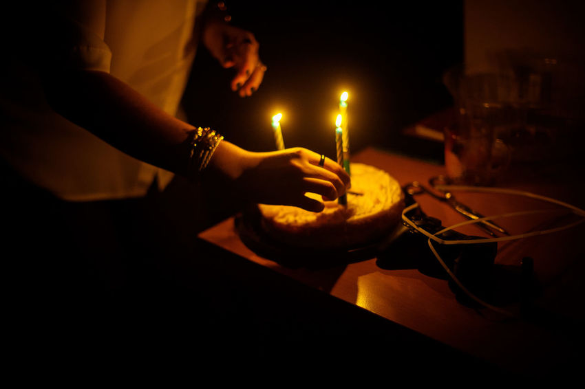 Human Hand People One Person Night Human Body Part Indoors  HappyBirthday Birthday Cake Light Atmospheric Mood Paint The Town Yellow