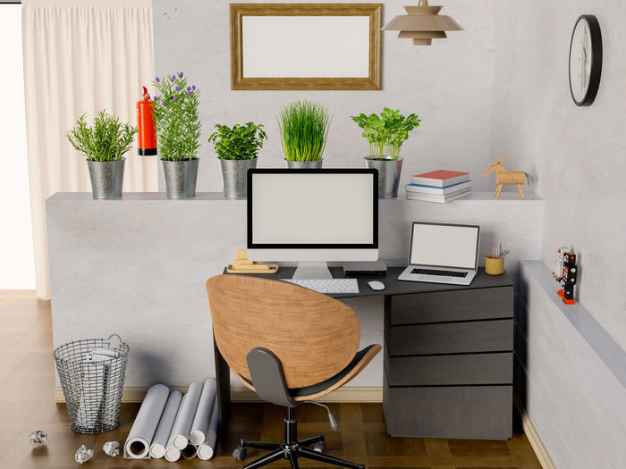 Mock up computer and laptop on table in room. Table Seat Furniture Technology Indoors  Computer Chair Potted Plant Plant Communication Office Business Wireless Technology Desk Modern Laptop No People Computer Equipment Computer Monitor Wall - Building Feature Houseplant Keyboard