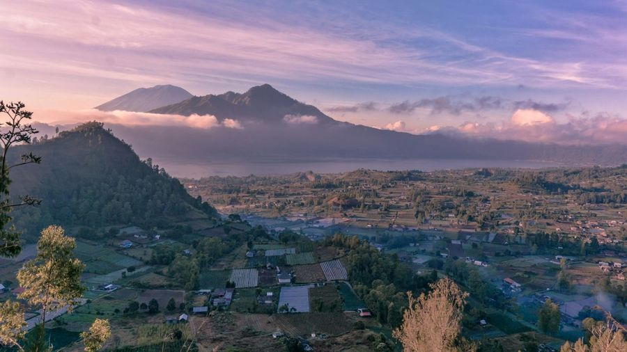 Songan Village Tree City Mountain Sunset Beauty Fog Dawn Panoramic Agriculture Place Of Worship
