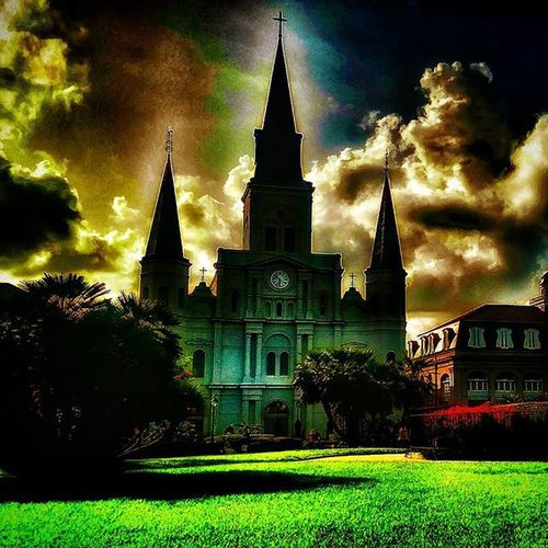 Cathedral edit. Neworleans Louisiana JacksonSauare Frenchquarter cathedral sky edit effects