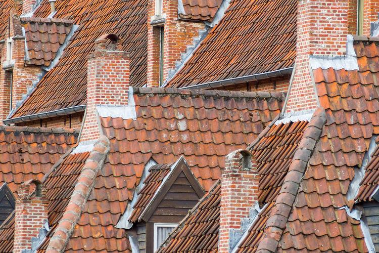 Brick Building Chimney Dormer Orange Roof Roof Tiles Rooftop Rooftop View  Row