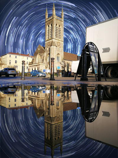 Photoshop Edit, Church image taken on Huawei P10 Plus Phone Oo Reflection Architecture Astronomy Building Exterior Built Structure Huaweiphotography Illuminated Leica Mobilephotography Night No People Outdoors Photoshop Place Of Worship Reflection Reflections In The Water Religion Sculpture Sky Spirituality Star - Space Star Trail Symmetry Water