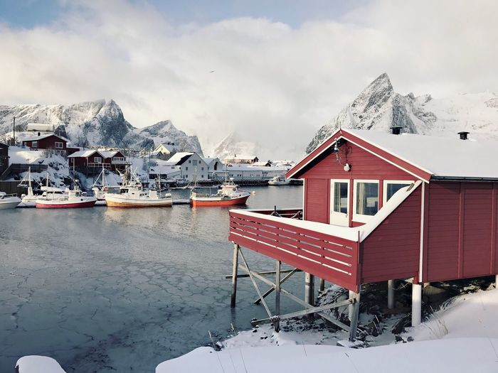 Snow Winter Cold Temperature Mountain Building Exterior Built Structure Architecture Sky Weather Mountain Range Scenics Outdoors Tranquil Scene Beauty In Nature Nature Tranquility No People Day Fishing Cottage Norway Lofoten Islands