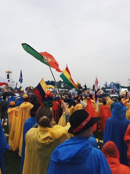 Jmj JMJEUFUI JmjCracovia2016 Wyd WYD2016 WYDADICTED Flag Large Group Of People Crowd Arts Culture And Entertainment Men Multi Colored Parade Person Identity Sky National Flag Outdoors Event Celebration Event Performance Pope Pope Francis  Popefrancis Portugal