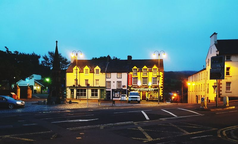 A place to go back to... Outdoors Architecture Night Building Exterior Yellow Glow Ireland Travel Travelphotography Night Photography No People Sky